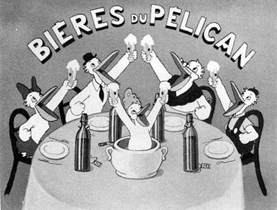 Cette publicité est l'œuvre d'Omer Boucquey, très célèbre pour ses affiches et ses films, ce créateur parisien était le fils de Louis Boucquey, l'un des actionnaires des Bières du Pélican